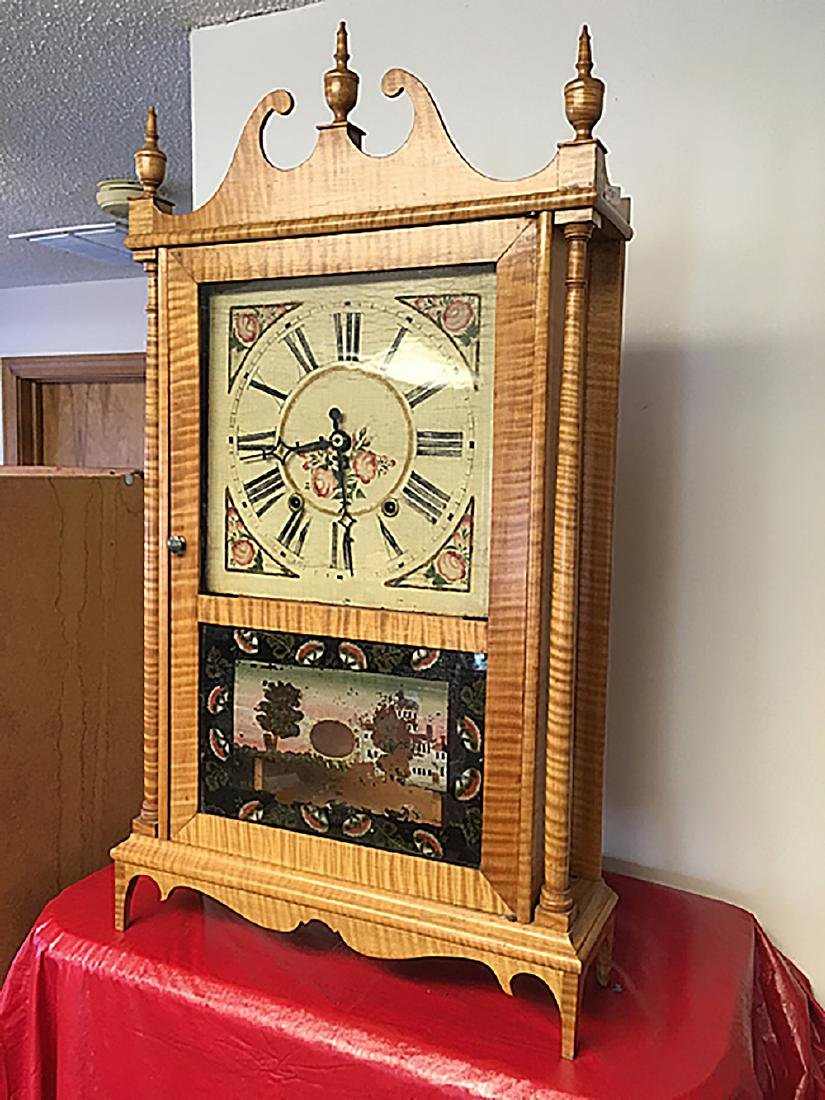 Tiger Maple Pillar and Scroll Clock - 2