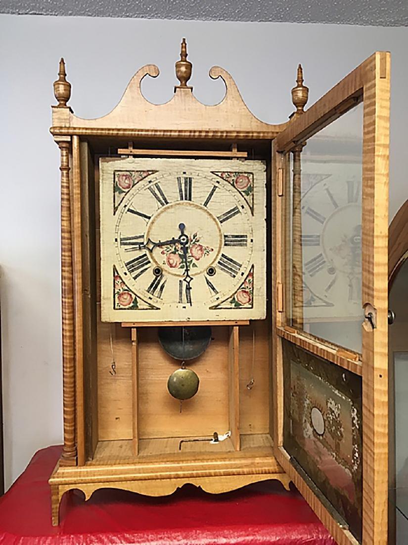 Tiger Maple Pillar and Scroll Clock - 7