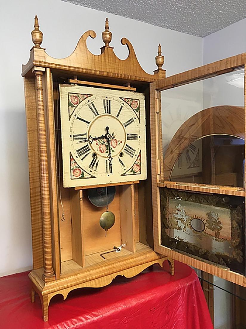 Tiger Maple Pillar and Scroll Clock - 8