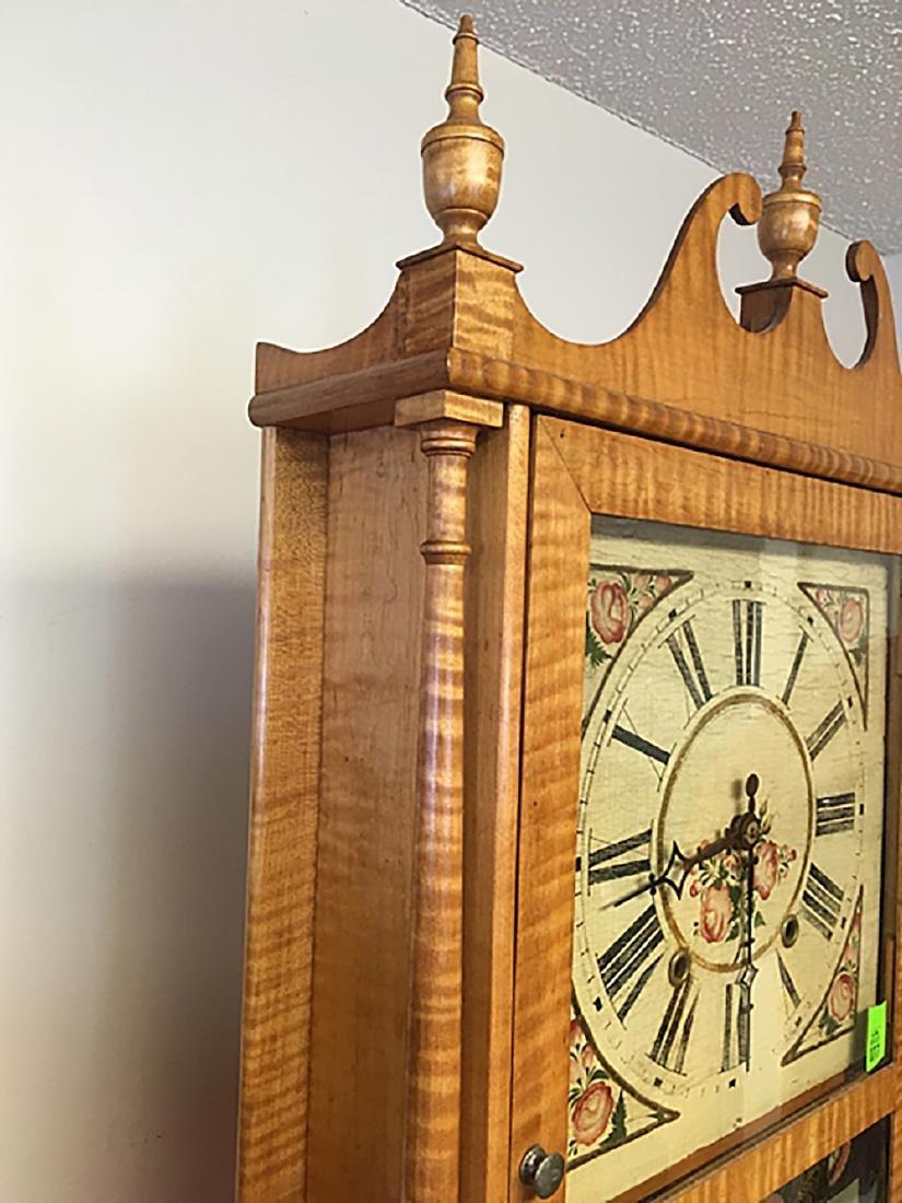 Tiger Maple Pillar and Scroll Clock - 9