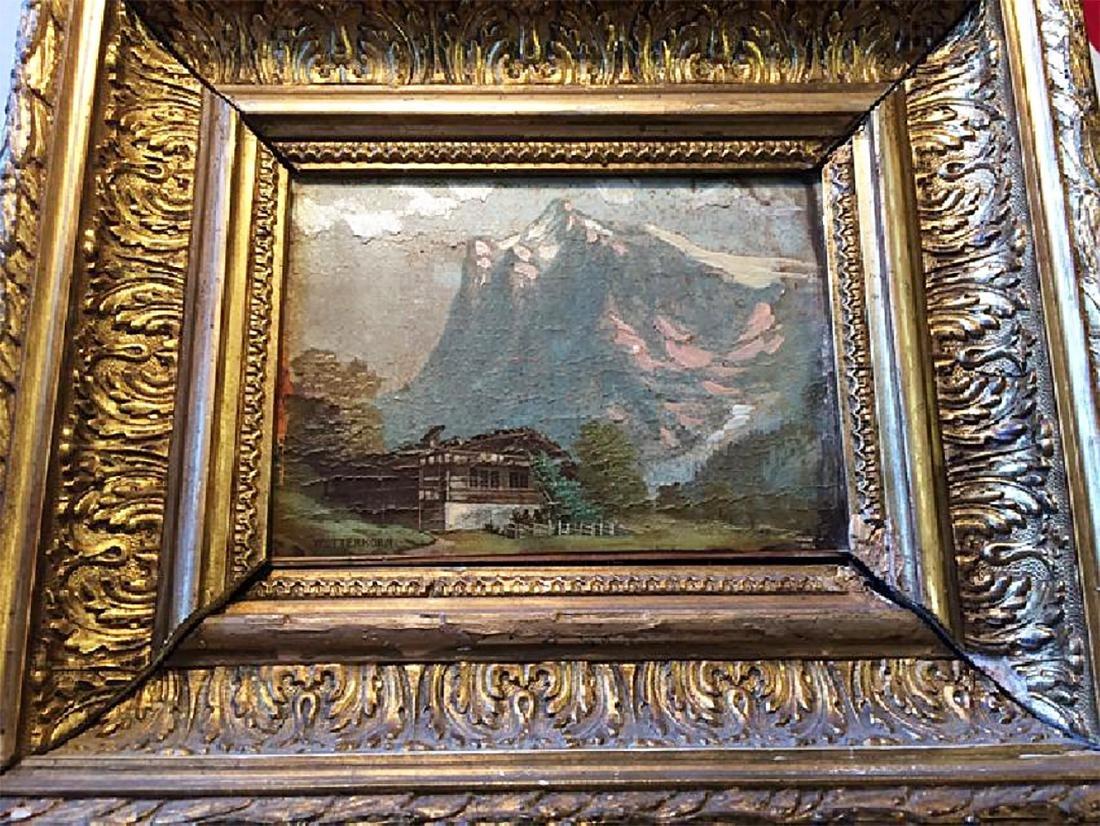 Vintage Painting in Ornate Gold Gilt Frame