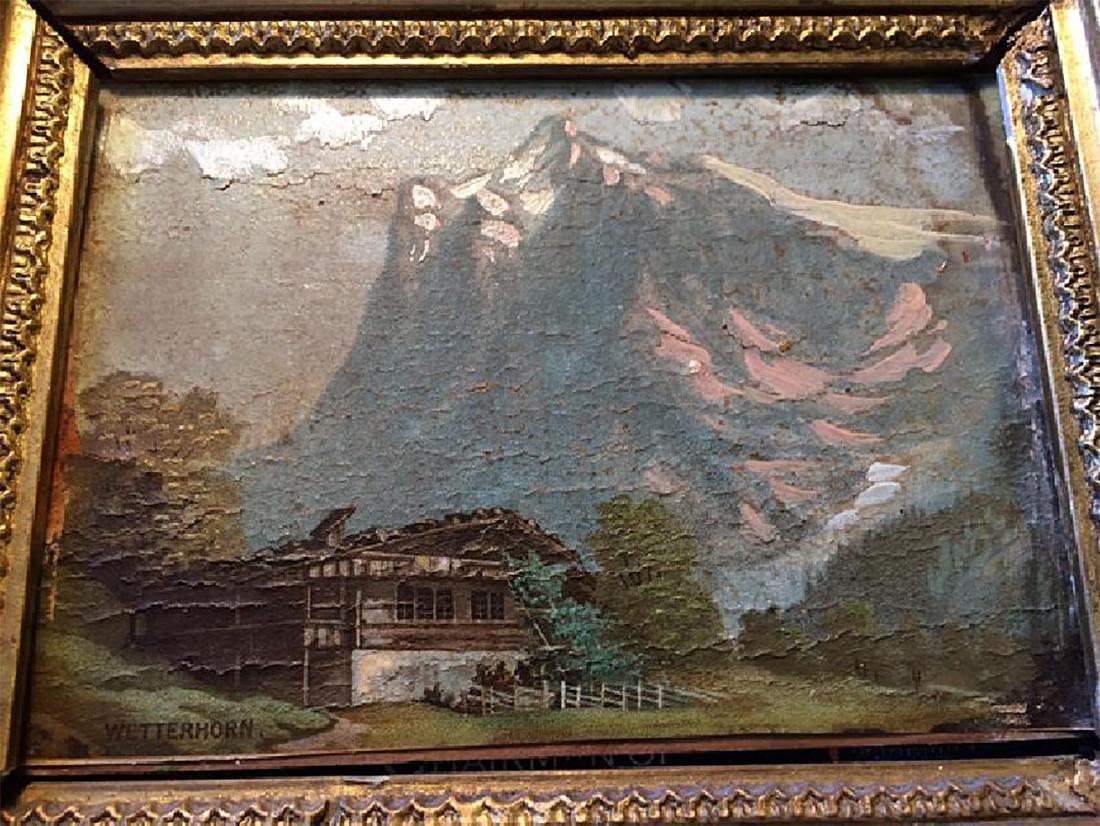 Vintage Painting in Ornate Gold Gilt Frame - 2