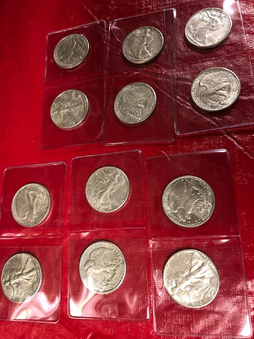 12 Silver Walking Liberty Half Dollars
