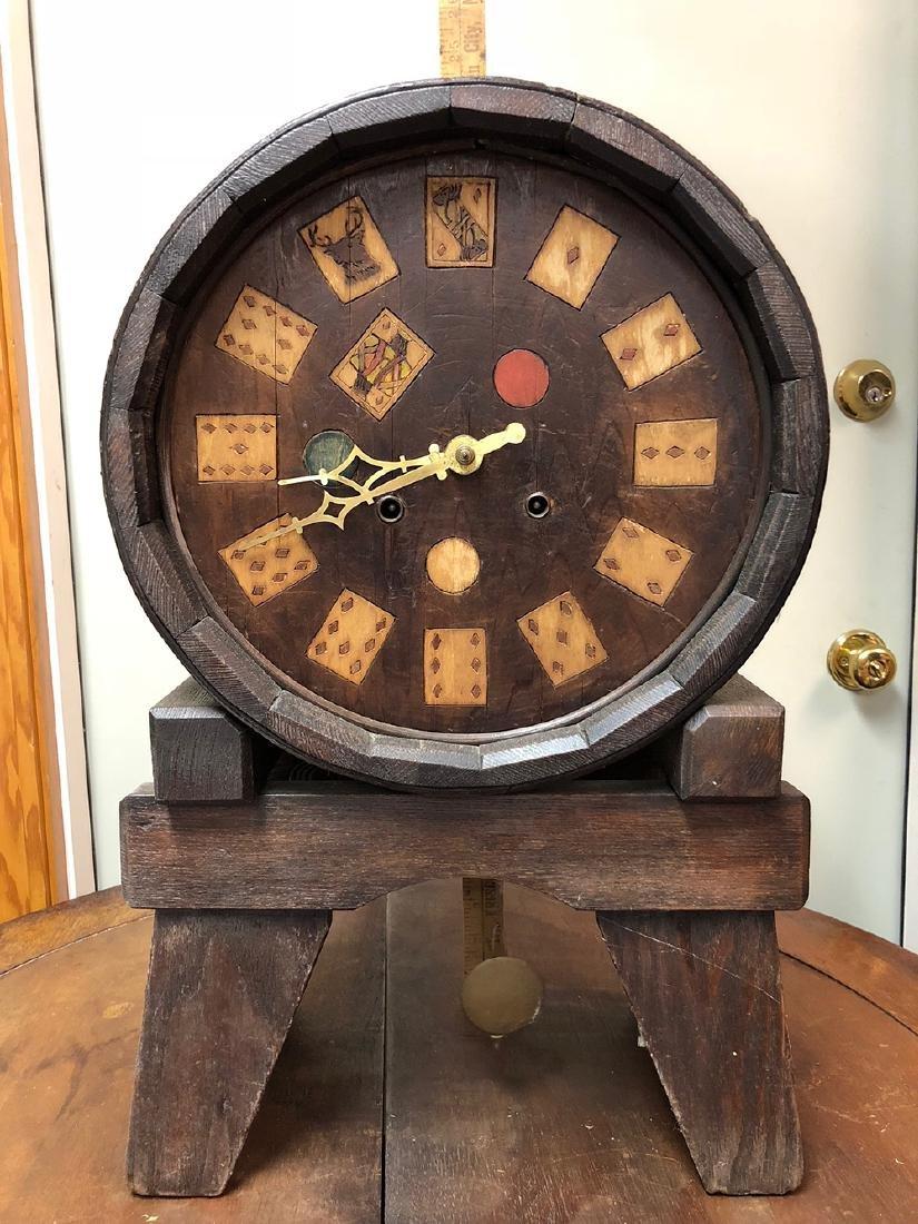 Arts and Crafts Oak Novelty Clock