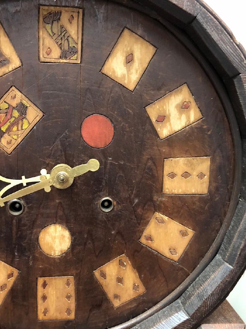 Arts and Crafts Oak Novelty Clock - 4