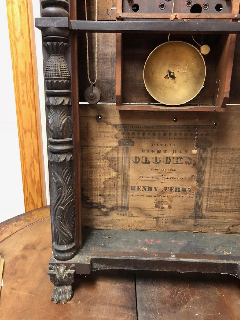 Henry Terry Carved Column Clock - 8