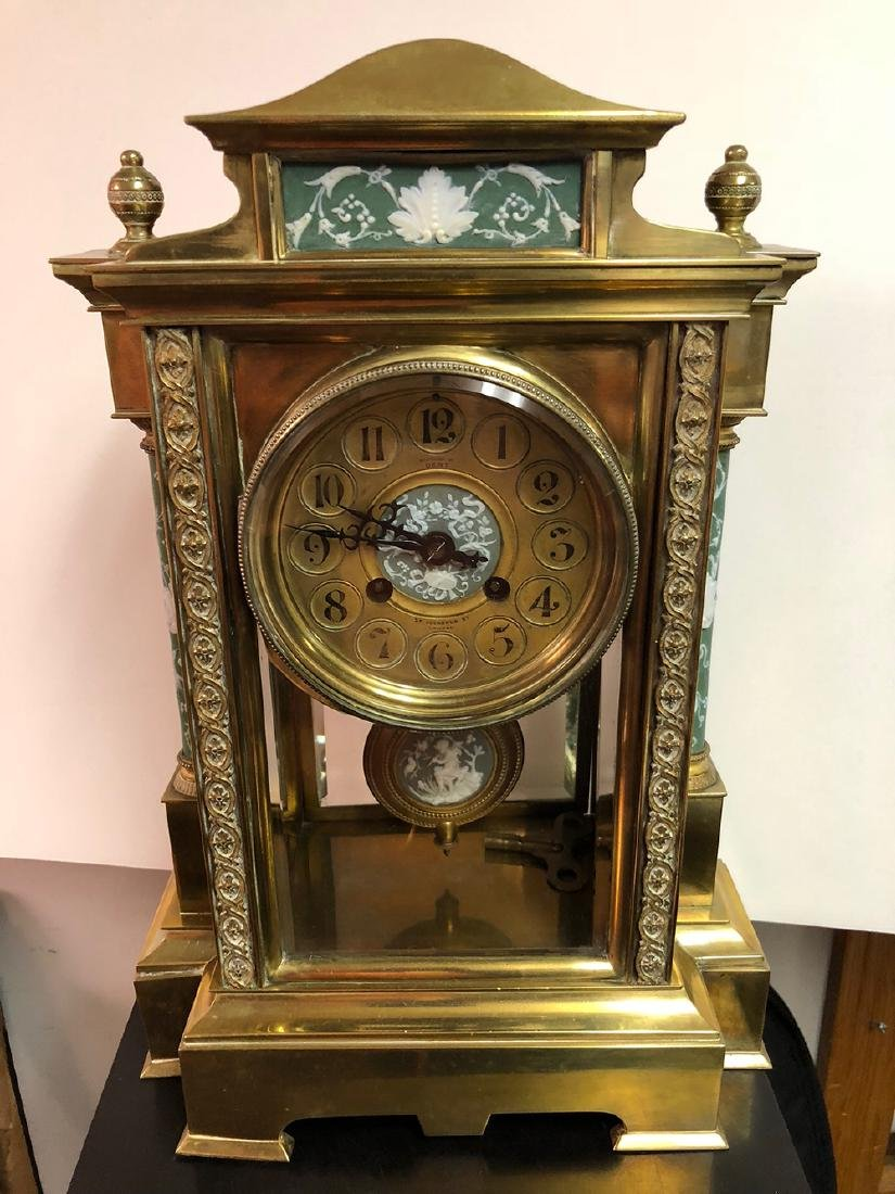 Crystal Japy Freres Regulator Clock with Wedgewood