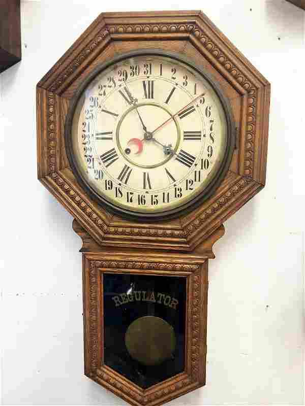 Consort, Wm. Gilbert Oak Wall Regulator Clock