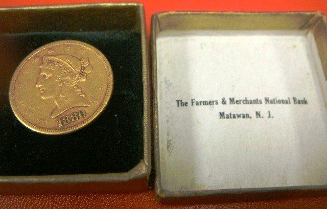 9: 1880-S Five Dollar Liberty Head Gold Coin