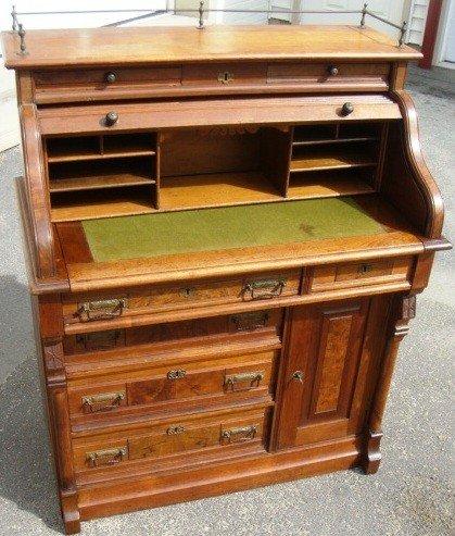 23: Victorian Walnut S - Roll Top Writing Desk