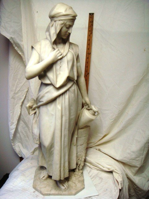 """76: """"Rebecca At the Well"""", Beautiful Marble Statue"""