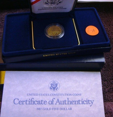 1987 US American Eagle  Proof Gold $5.00 Coin