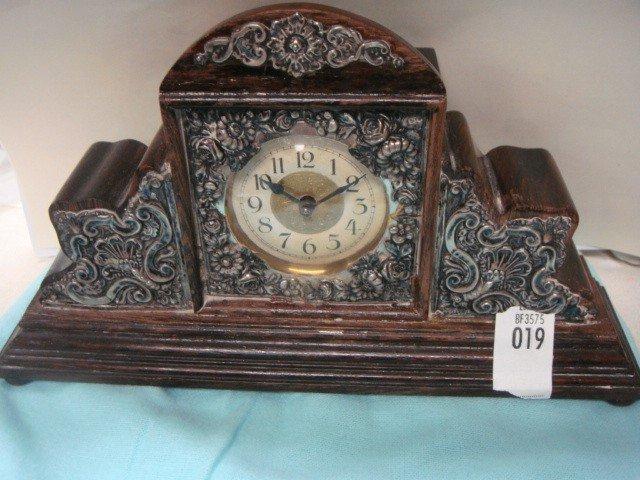 19: Sterling Silver Rosewood Dresser Clock