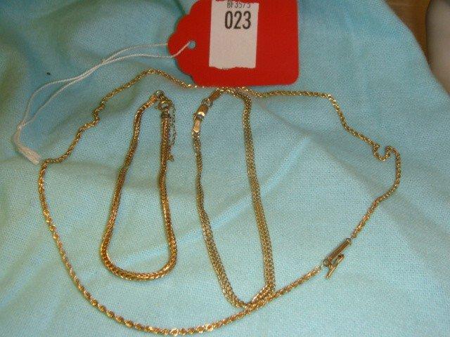 23: 14 K Gold 2 Bracelets, 1 Rope Chain
