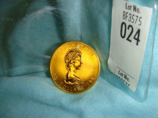24: 1 Oz. Gold 1980 Canada .999 Gold Coin