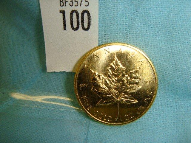 100: 1 Oz. Gold 1980 Canada 999 Coin