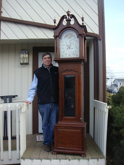 19: JE Caldwell Grand Father Clock 3 Weight, Walnut