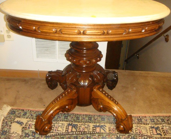 23: Victorian Oval Marble Top Parlor Table By Thomas Br