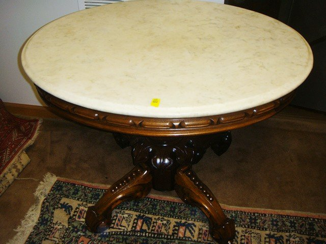 23: Victorian Oval Marble Top Parlor Table By Thomas Br - 5