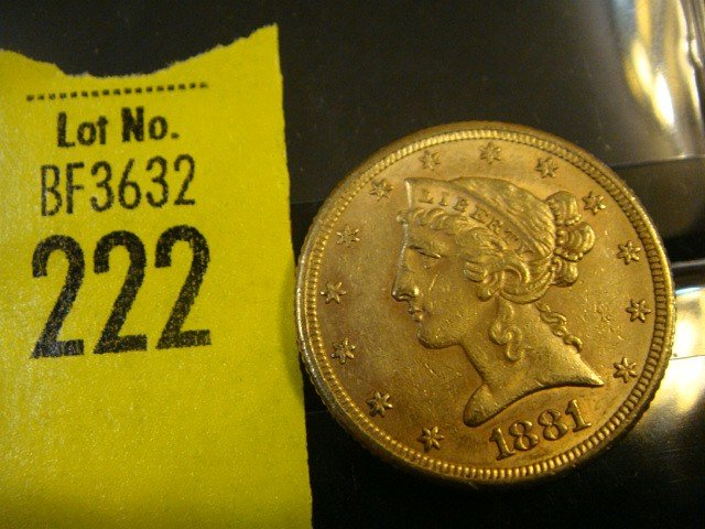222: 1881 5 Dollar Liberty Gold Coin