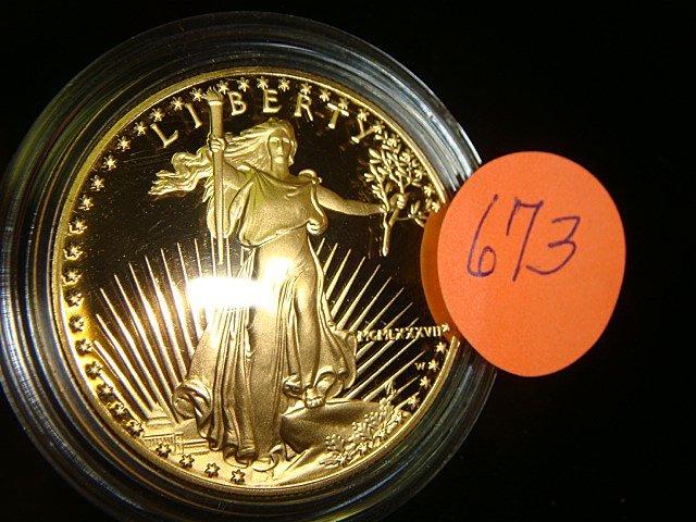 673: 1 oz. Fine .999 Gold U.S. American Eagle Coin