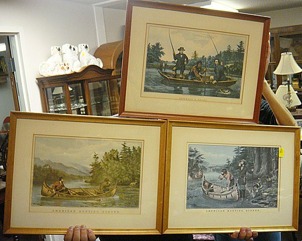 411: 3 Prints, Hunting and Fishing Scenes