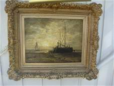 678: Antique Oil Painting (Seascape) by Addison Thomas