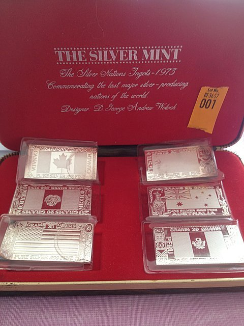 1: Silver Mint 1973 6 Piece .999 Silver Bars