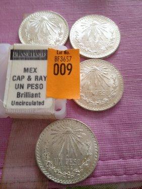 Four Silver Mexican Cap & Ray Un Peso, Brilliant Unc