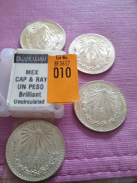 10: Four Silver Mexican Cap & Ray Un Peso, Brilliant Un