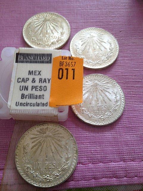 11: Four Silver Mexican Cap & Ray Un Peso, Brilliant Un