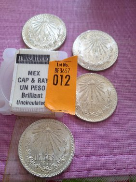 Four Silver Mexican Cap & Ray Un Peso, Brilliant Un