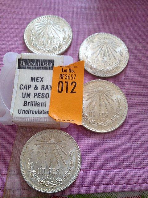 12: Four Silver Mexican Cap & Ray Un Peso, Brilliant Un