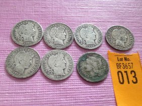 13: 6 Silver Barber Dimes and 1 3 Cent Piece.   2-1916,