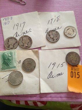 Four Mercury Head Dimes, Tokens And 1 Cent Stamp
