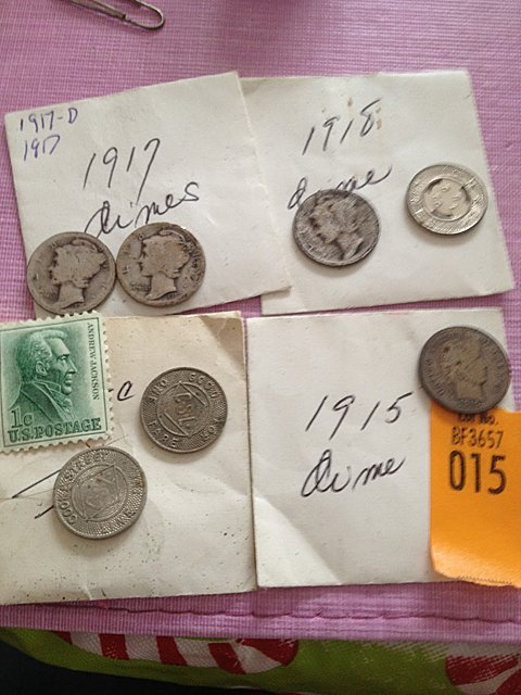 15: Four Mercury Head Dimes, Tokens and 1 Cent Stamp