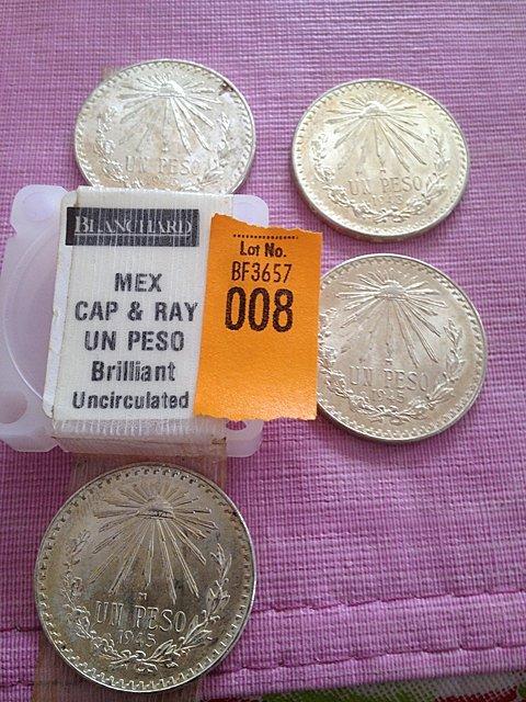 8: Four Silver Mexican Cap & Ray Un Peso, Brilliant Unc