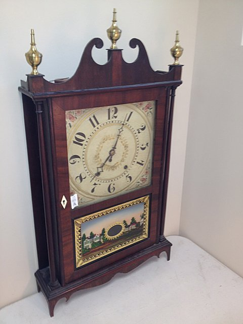 20A: Eli Terry & Son Wooden Works Pillar & Scroll Clock
