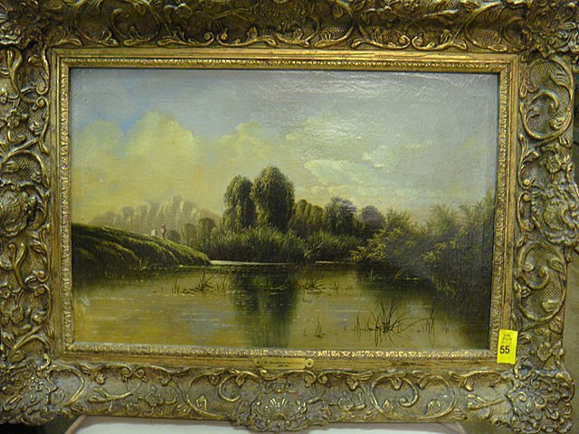 """55: Antique Oil Painting """"Backwater of the Thames"""""""