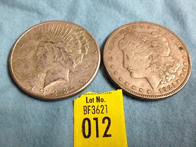 2 US Silver Dollars 1921 Morgan and 1923-S Peace Silver