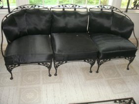 Estate 3 Piece Black Wrought Iron Sectional Sofa