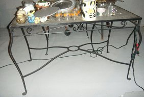 Estate Wrought Iron And Glass Table