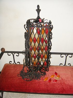 Estate Vintage Art Modern Wrought Iron Hanging Lamp