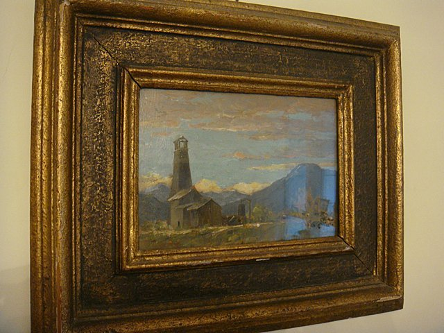 Estate Antique Oil Painting on Board under Glass