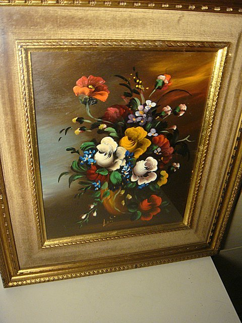 Estate Antique Signed Oil Painting Under Glass