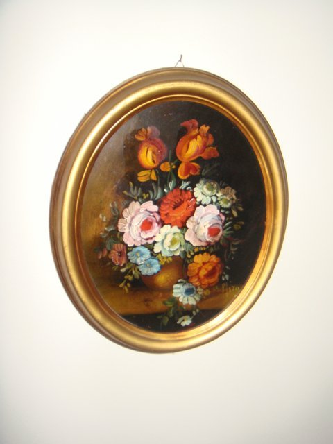 Estate Antique Oval Oil Painting on Board