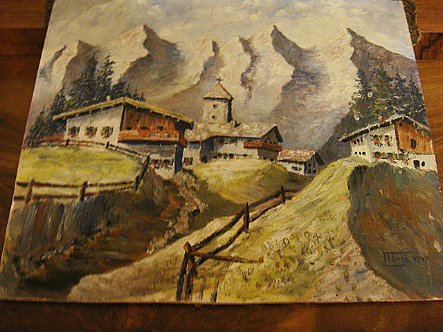 Antique Estate Oil Painting on Board