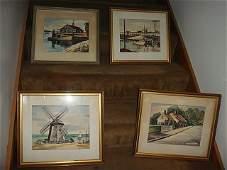 4 Framed Watercolor Paintings by Robert Brooks
