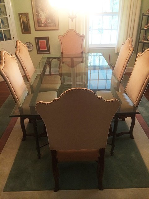 Vintage Glass Top Dining Table, 8 Chairs