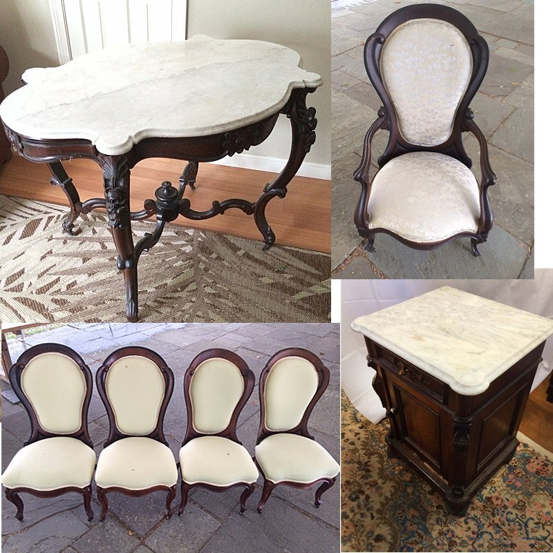 Victorian Rosewood Table, Chairs, Commode